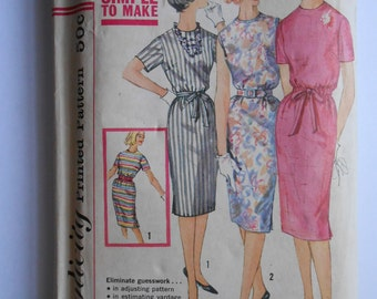 Vintage 60s Slim Shift Dress Pattern Proportioned Sizes Short Medium Tall Simplicity 3780 Size 14 Bust 34