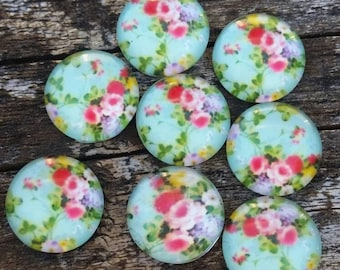 12mm Minty Blue Floral Glass Cabochons