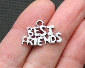 6 Best Friend Charms Antique Silver Tone - SC2677