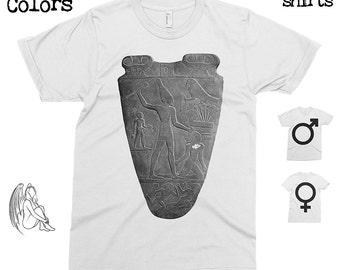 Narmer Palette T-shirt, Tee, American Apparel, Egypt, Egyptology, Pharaoh, Pyramids, Ra, Ramesses, Hieroglyphs, Cute Gift