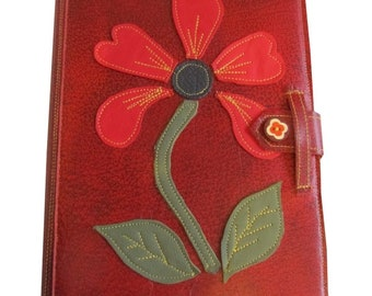 Leather book cover Poppy
