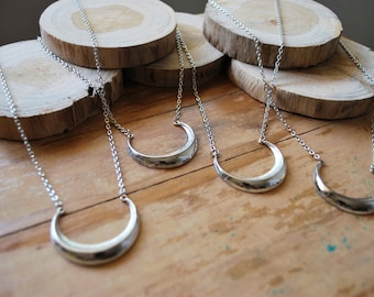 Silver Waxing Crescent Moon Necklace