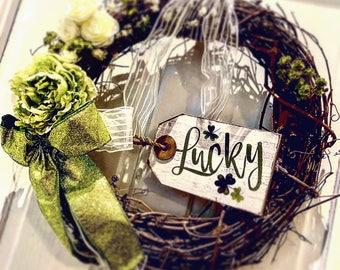 St. Patrick's Day Wreath, Lucky Wreath, Green and White Wreath, Irish Wreath, Front Door Wreath, Spring Wreath