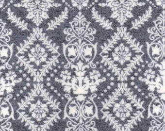 Luxe Flannel Fabric - Damask Gray Heather - 33 inches