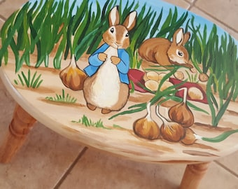 Hand Painted Beatrice Potter Peter Rabbit Cricket Step Stool