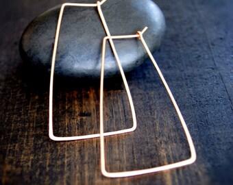 Hoop Earrings Minimalist - Gold Rectangle Hoops - Geometric Earrings - Gold Hoop Earrings- 14K Gold-Fill Hoops - 14K Solid Gold Hoop