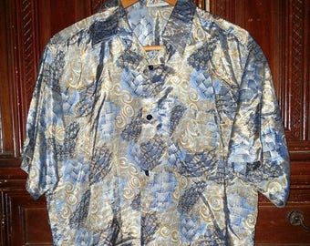 Vintage Mens Metallic Hawaiian  Shirt Size Large
