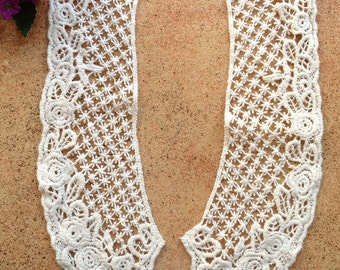 Beige Cotton collar - Venice lace Collar Appliques 1 Pair
