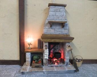 Dollhouse Fireplace - FieldStone Kitchen Cooking Light up Fire Miniature Puppenhaus Küche