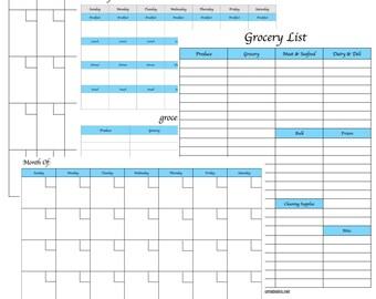 Mini Menu Planning Kit | Printable Meal Planner | Monthly Menu Plan With Grocery List | Weekly Menu Plan