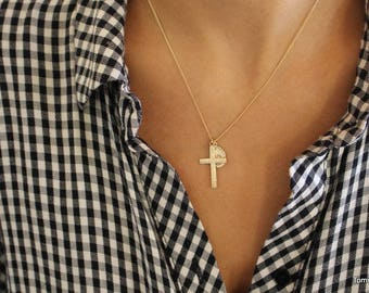 Saint Christopher and Cross Pendent Necklace, Cross Necklace, Gold Filled Pendent Necklace, Religious Jewelry, Medallion Necklace, charm