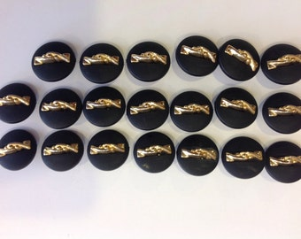Vintage buttons black frosted gold detail plastic 20 pic Art Deco buttons