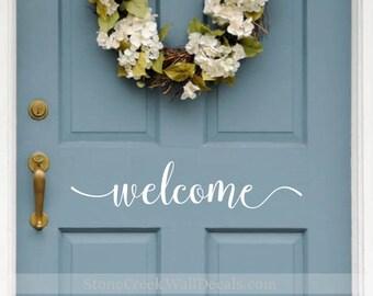 Welcome Door Decal   Front Door Decal   Welcome Vinyl Decal   D024 Front Door Sticker  Front Door Vinyl Decal   Welcome Door Sign