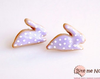 Mini Food Polka Dot Bunnies Stud Earrings, Easter Cookies, Polymer clay Sweets, Easter gifts, Kawaii Jewelry, Cute Jewelry