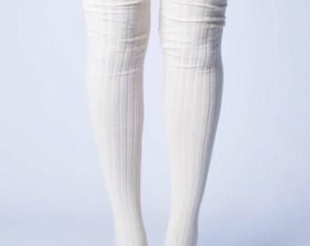 Ivory Ribbed Thigh High Socks