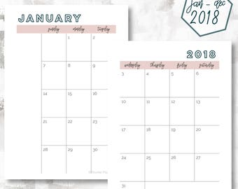 The 2 Page Calendar, Sunday Start | January - December 2018 | A6 Size | Printable Planner | Monthly Calendar | OG Style