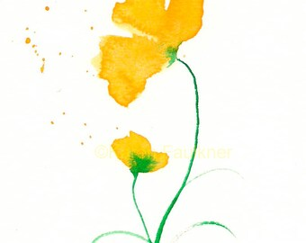 "Art print of yellow watercolor flowers: ""Duet"""