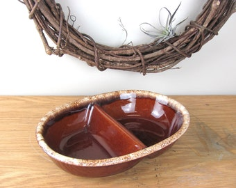 Vintage Oven Proof Brown Stoneware Divided Serving Dish H. P. Co. U.S.A.