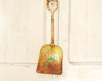 Old Ohio Art Metal Shovel-Well Used Child's Toy-Dump Truck-Rusty Green-Yellow-Kid's Garden Tool-Retro Art Decor-Orphaned Treasure-012617G