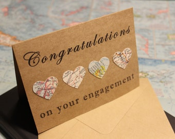 Congratulations on your Engagement Card - Wedding Card - Love Card - Map Card