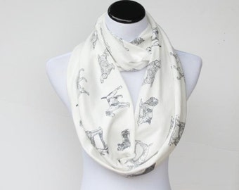Infinity scarf for dog lovers loop scarf cute white gray dog scarf - circle scarf gift for girl and mom