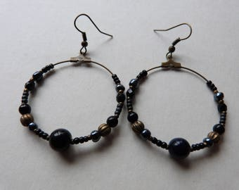 Large hoop earrings black and bronze