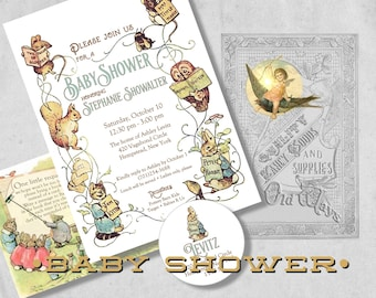 Storybook baby shower guest book wishes for baby advice for beatrix potter storybook baby shower invitation gender neutral vintage baby shower invites with bring a filmwisefo