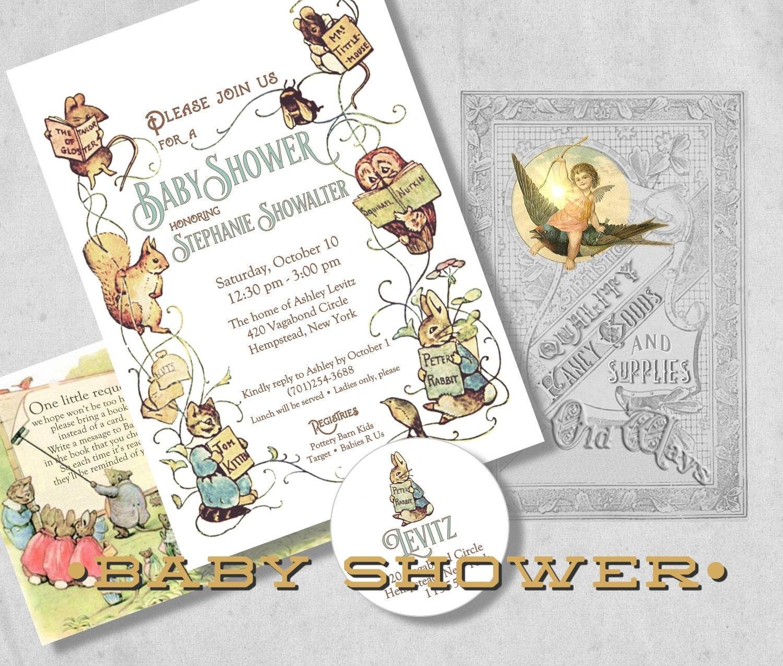 Beatrix Potter Storybook Baby Shower Invitation Gender