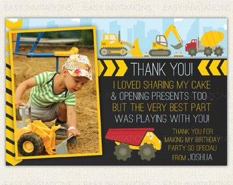 Construction thank you cards, construction thank you, printable construction thank you cards, construction party printables, personalised