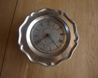 Vintage Pewterex Colonial Pewter Battery Operated Wall Clock Tempus Fugit  (Latin for Time Flies) – York, PA