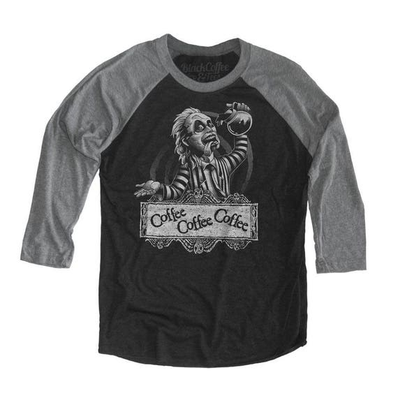 Halloween Beetle juice Shirt - Unisex Beetle Juice T-Shirt - Coffee Drinking - Unisex Baseball Tee