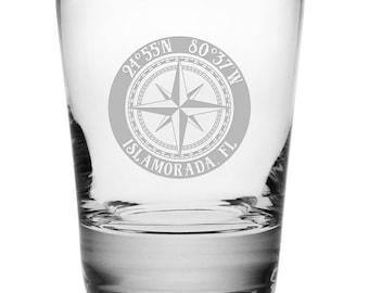 Custom Coordinates Compass Rose DOF Glasses S/4, Latitude Longitude Glassware