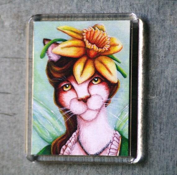 Daffodil Cat Magnet, Spring Flower Fairy Cat Art Fridge Magnet