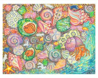 Art Print, Giclee, Nature Wall Art, Sea Shell, Starfish, Tide Pool, Crab, Colors, Paradise, Marine Life, Ocean, Sea, Nautical, Beach, Shore
