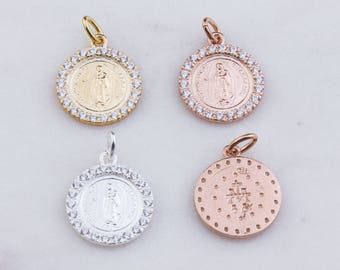 Our Lady of Guadalupe Round Pendant with CZs in Sterling Silver, Gold Plated OR Rose Gold Plated, Miraculous Medal Charm, Religion CM158R
