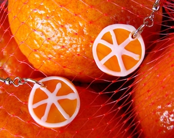Miniature Glass Orange Slice Earrings - Sunny Citrus Danglies