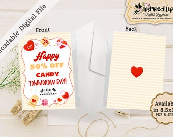 """Instant Download Printable Valentine Folded Card """"Happy 50% off Candy tomorrow day!"""" /Printable Valentines Card/ Funny DIY Valentines"""