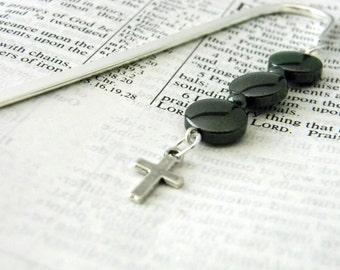 Simple Cross Bookmark with Black Hematite Glass Beads