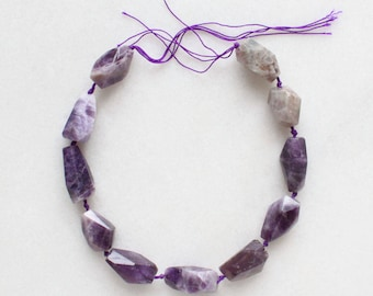 """Amethyst Faceted Gemstone Nugget Beads - 15"""" strand"""