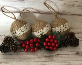 Rustic Christmas Ornaments, Twine Christmas Ornaments, Christmas Ornaments, Primitive Ornaments, Christmas Decorations, Gift For Women