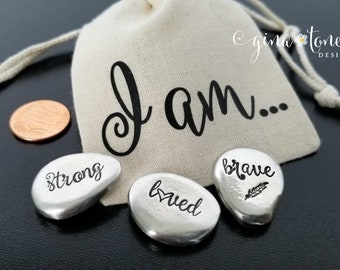 Cancer Gift Pocket Coin, Affirmation Stones, Chemo Gift, Encouragement Gift, Inspirational Pocket Token, Worry Stone, Breast Cancer, Ovarian