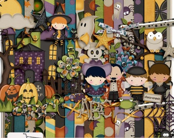 Ghostly Night Halloween Digital Scrapbook Kit