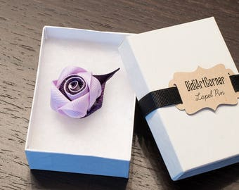 Rose Lapel Pin / Rose Boutonniere / lapel pin flower / Men's Lapel Pin / Lavender and Plum Rose Lapel Pin / lapel pins men