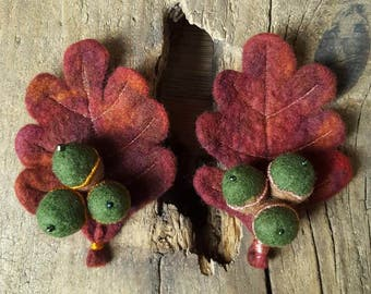 Felted Autumnal Acorn Brooch