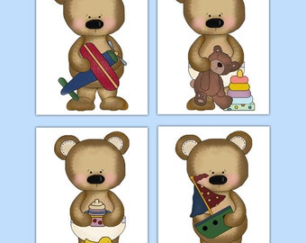 TEDDY BEAR NURSERY Art Prints or Decal Boy Woodland Forest Animal Stickers Room Decor Baby Shower Gift Decorations Kids Childrens Bedroom