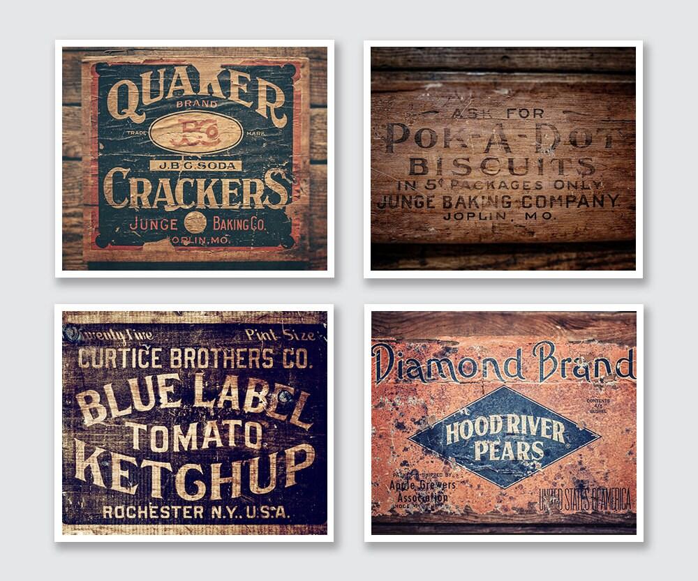 Vintage Wall Decor Ideas: Modern Farmhouse Kitchen Wall Decor Set Of 4 Prints Rustic