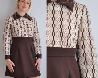 60s Mod Dress // 60s Johnny Collar Dress // Vintage Long Sleeve Dress // A Line Dress // 60s Party Dress // Secretary Dress // XS