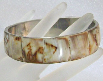 Vintage Tiger Shell Bracelet.  Wide Tiger Shell Bangle