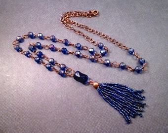Beaded Tassel Necklace, Indigo Blue and Cobalt Pendant Necklace, Copper Chain Necklace, FREE Shipping U.S.