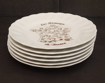 """1970's french Bread & Butter China Plate by Bavaria """"The cheeses of France"""" Set of 6. french Lover Original Gift"""